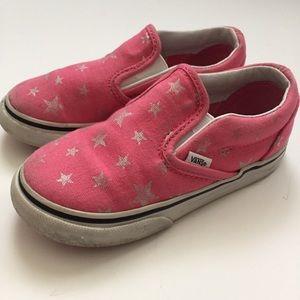 Vans Pink Star Slip-Ons Girls Size 8.5